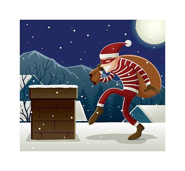 illustrazioni stock, clip art, cartoni animati e icone di tendenza di santa ladro - santa claus tiptoeing