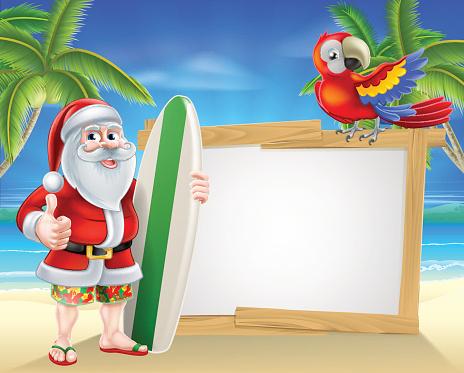 Santa Tropical Beach Sign Stock Illustration - Download ... (464 x 373 Pixel)