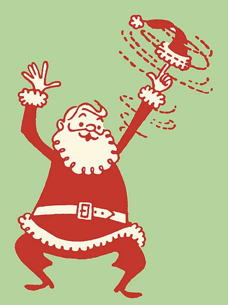 Santa Twirling His Cap Santa Twirling His Cap kitsch stock illustrations