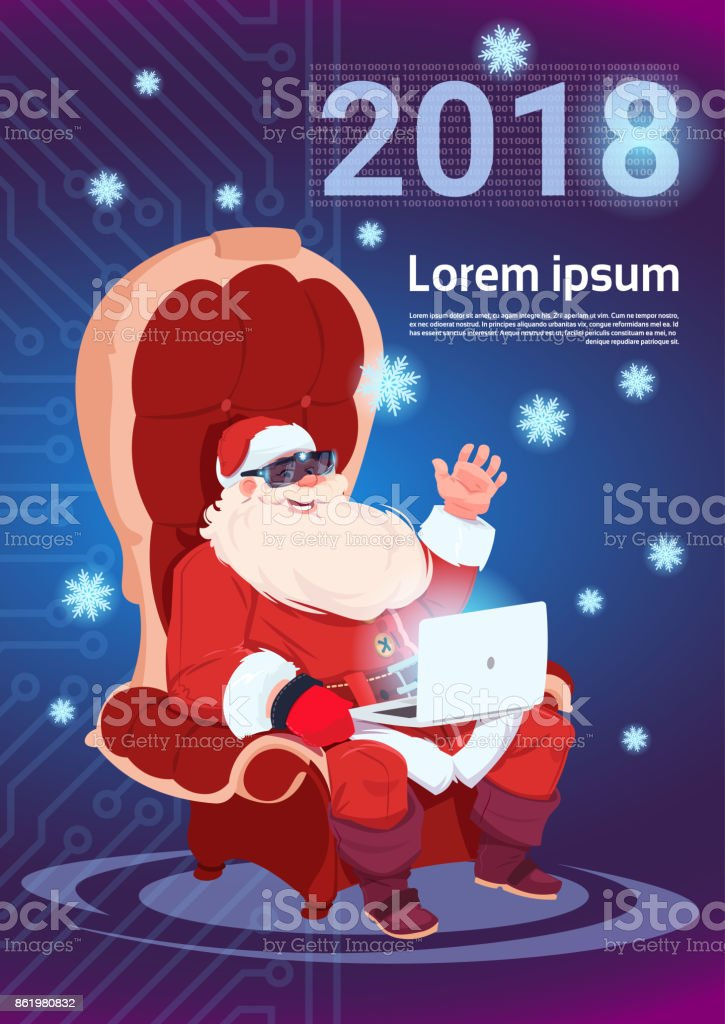 Santa using laptop wear 3d virtual glasses merry christmas and happy santa using laptop wear 3d virtual glasses merry christmas and happy new year 2018 greeting card m4hsunfo