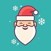 Santa Claus smiling flat design symbol. EPS 10 file. Transparency effects used on highlight elements.