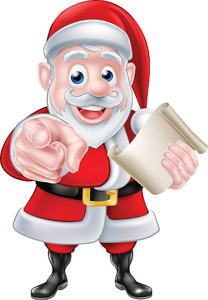 Santa Wants You Santa wants or needs you Christmas illustration of happy cartoon Santa Claus pointing at the viewer. Could be asking for help with Christmas charity or Christmas event surface to air missile stock illustrations
