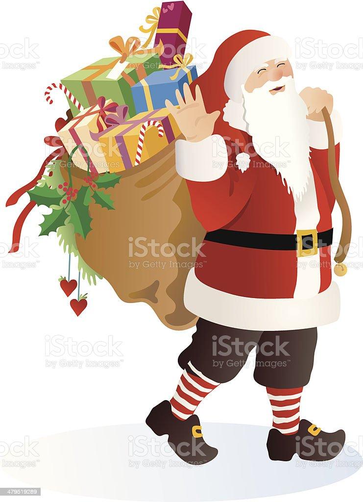 Santa waving royalty-free santa waving stock vector art & more images of bag