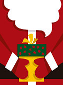 Vector illustration of Santa holding a Christmas present.