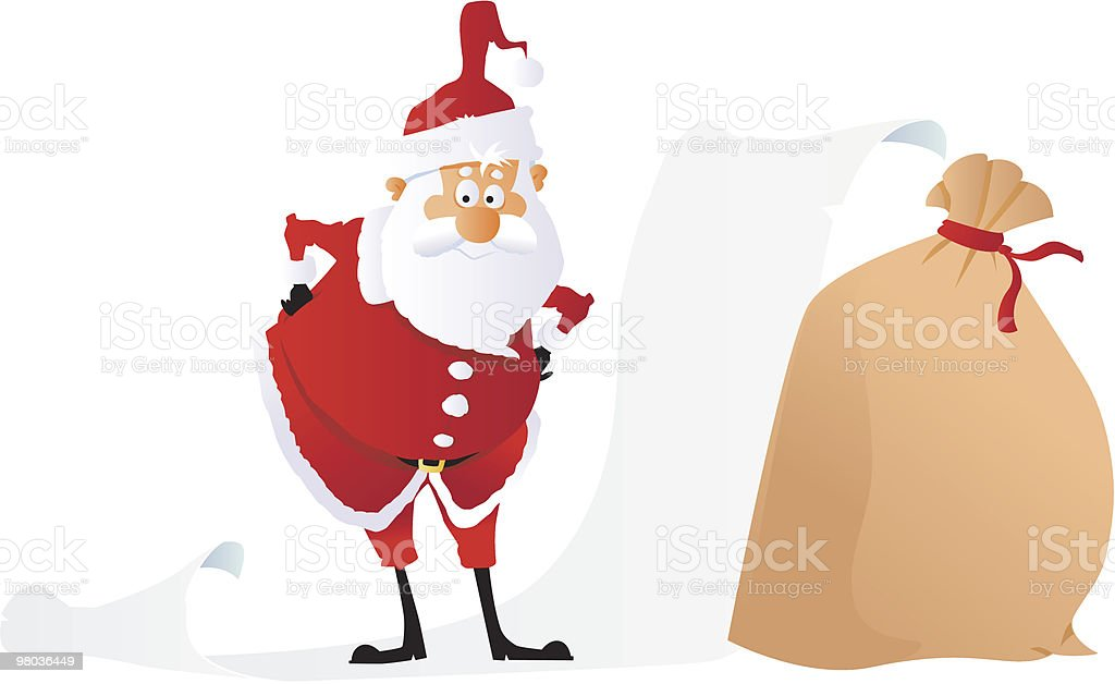 Santa with a long list (to be filled) royalty-free santa with a long list stock vector art & more images of blank