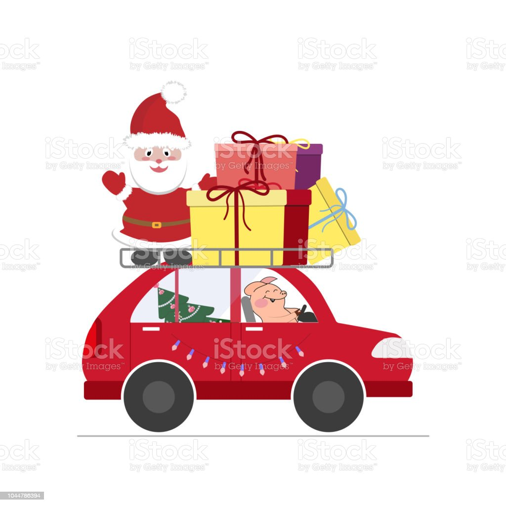 Weihnachtsmann Mit Einem Schweinchen Auf Dem Auto Mit Geschenken Und