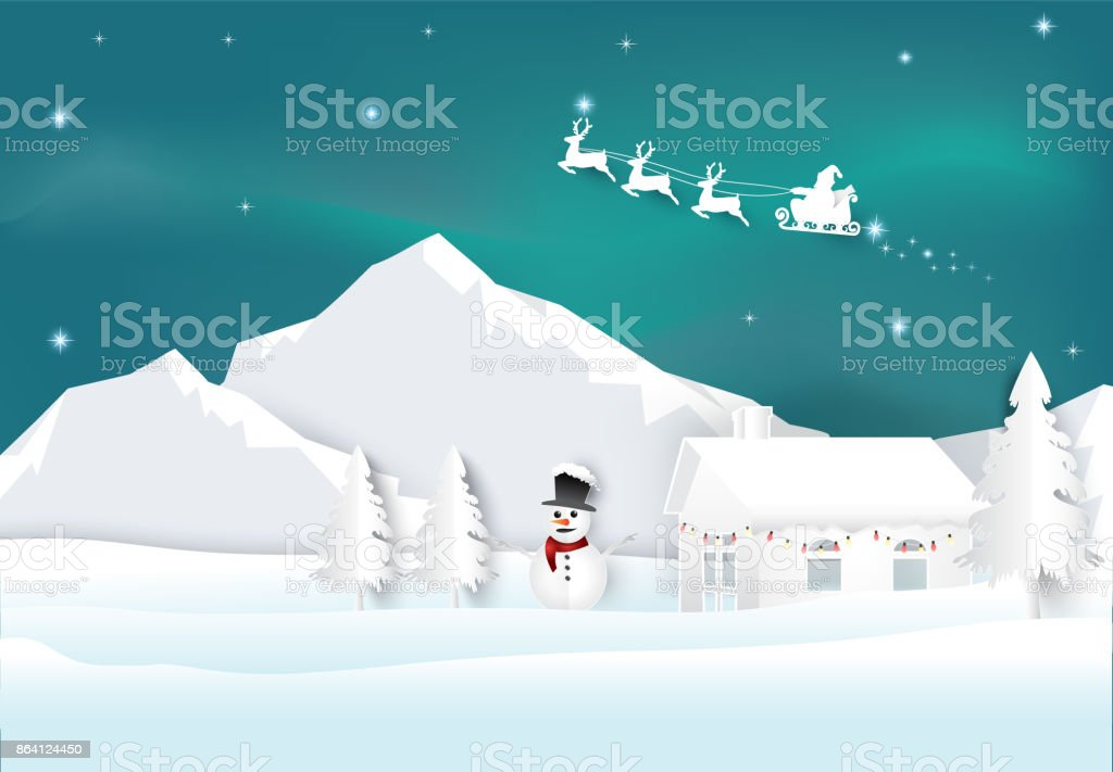 Santa with aurora on sky background. Christmas season paper art style illustration. royalty-free santa with aurora on sky background christmas season paper art style illustration stock vector art & more images of aurora borealis