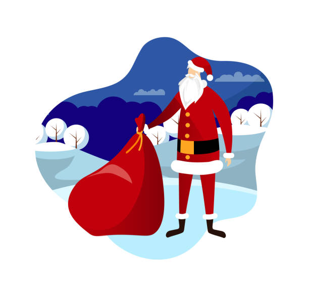 santa with bag on winter landscape background. - old man hat stock illustrations, clip art, cartoons, & icons