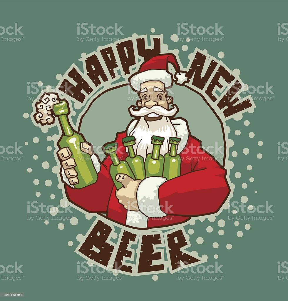 Santa with bottles of beer royalty-free stock vector art