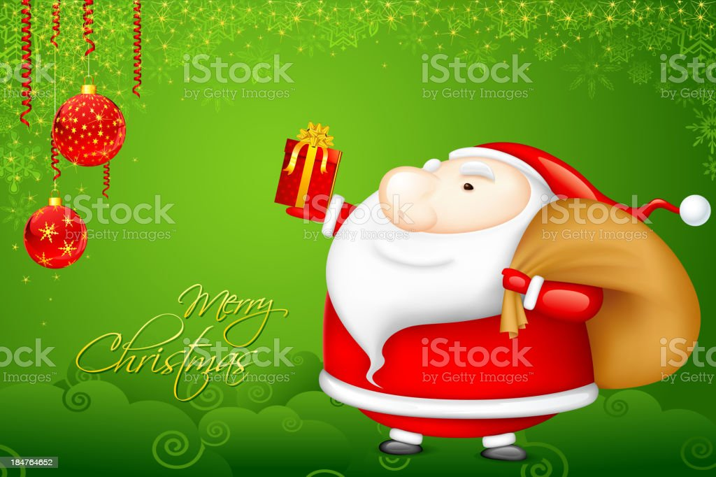 Santa with Christmas Gift royalty-free stock vector art