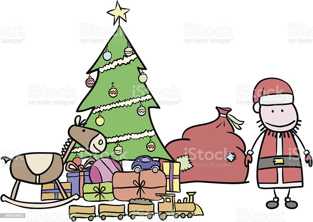 Santa with Christmas presents royalty-free stock vector art
