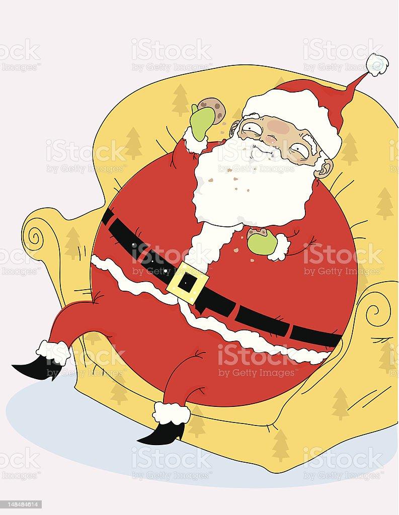 Santa With Cookies In Beard Stock Vector Art More Images Of Beard