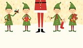A retro styled Santa with his elves standing in a row in the snow.  Each elf holds a toy for Christmas.  Copyspace below for your message.   AI CS4 file and large jpg included.  All elements labeled and organized on separate layers for easy color changes.