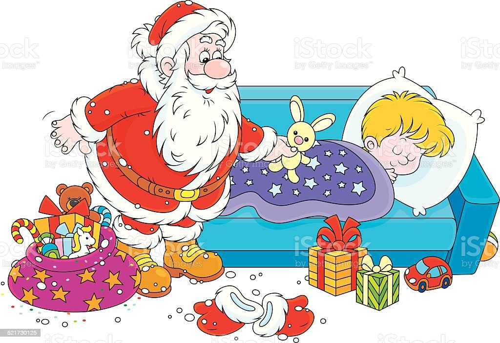 weihnachtsmann mit geschenken f r kinder stock vektor art. Black Bedroom Furniture Sets. Home Design Ideas