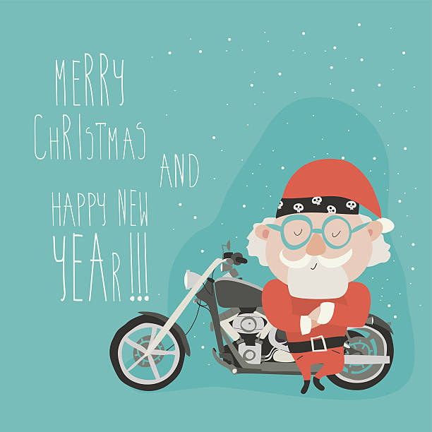 santa with motorcycle - old man funny pictures stock illustrations, clip art, cartoons, & icons