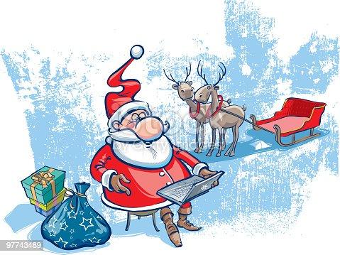 istock Santa with notebook 97743489