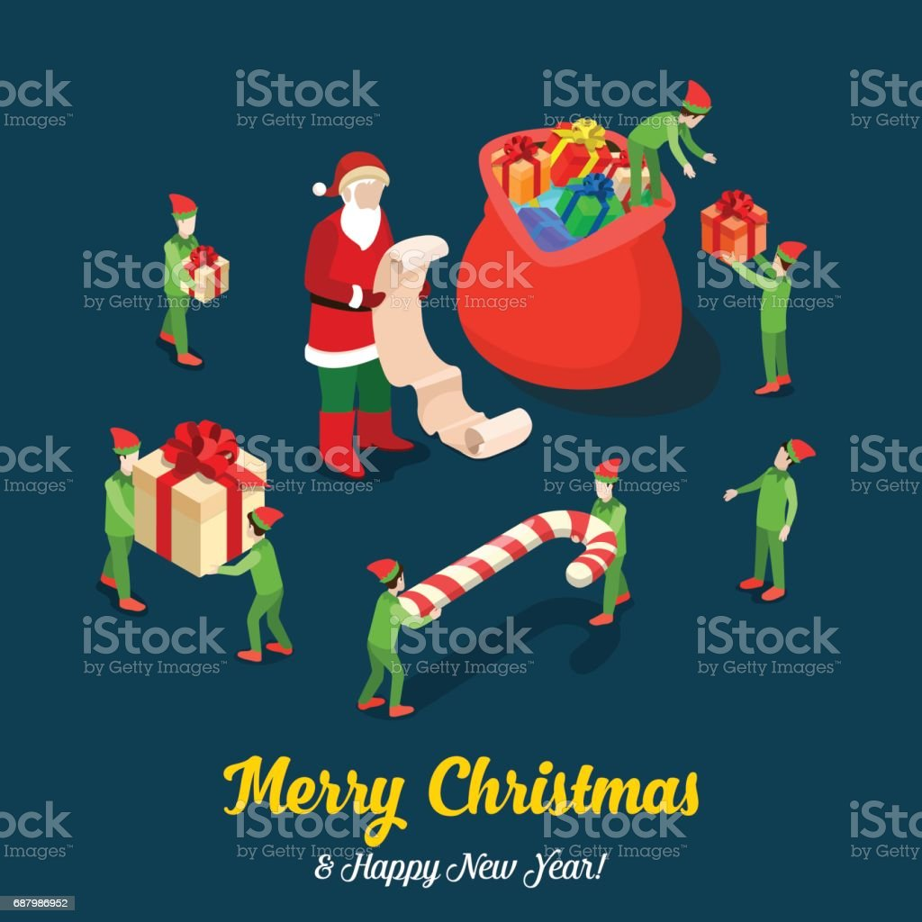 santa with present gift wish list and green helper trolls loading bag merry christmas flat 3d