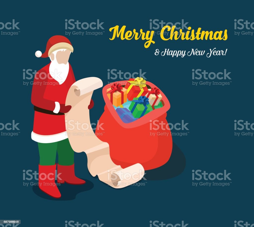 santa with present gift wish list merry christmas flat 3d isometry isometric web vector illustration