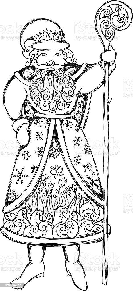 Santa with staff vector art illustration