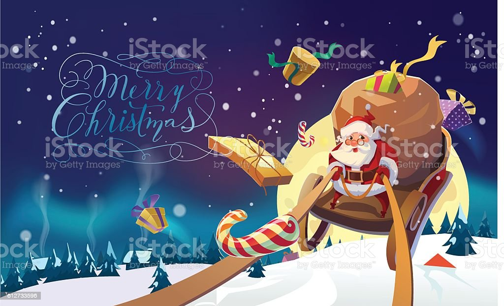Santa with the bunch of presents. Merry Christmas Card. vector art illustration