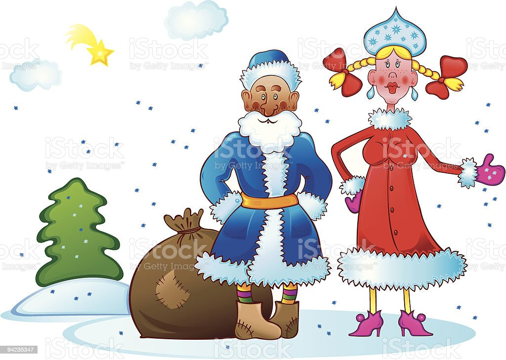 Santa with the granddaughter royalty-free stock vector art