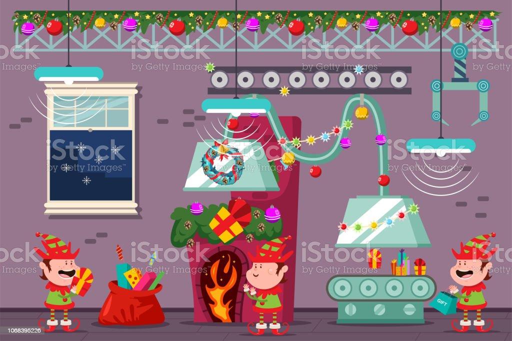 Atelier Du Père Noël Avec Les Elfes Drôles à Lusine De Noël