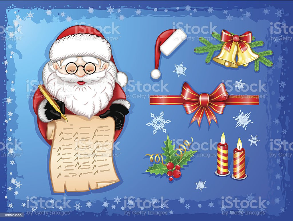 Santa-Claus writing on scroll with Christmas icons-set vector art illustration
