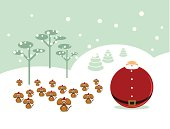 Winter landscape with Santa Claus and a group of mice to assist him