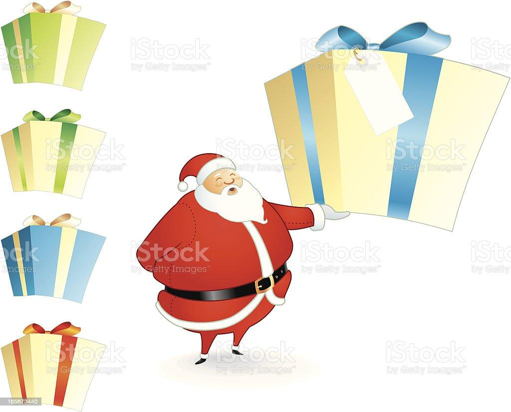 Santa's Big Gift royalty-free stock vector art