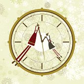 Santa and elf hanging from a clock's hands. Layered file for easy edition.