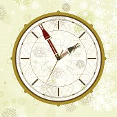 Christmas clock with Santa and elf as clock hands. Layered file for easy edition.
