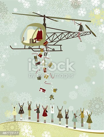Santa giving gifts away from his helicopter to the children of the world. Note; layered file for easy edition.