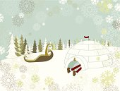 Santa taking a nap in his igloo before start giving out gifts. Grouped and layered file for easy edition.
