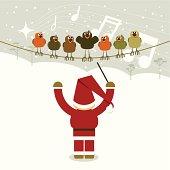 Santa conducting a birds choir.