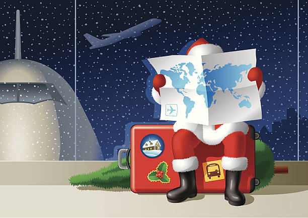 Santa's Christmas travel Santa Claus at the airport is sitting on a suitcase and selecting a route for the Christmas travel. airport silhouettes stock illustrations