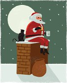 Festive scene with Santa Claus in  hand crafted print or grunge style. cs3 and freehand versions in zip