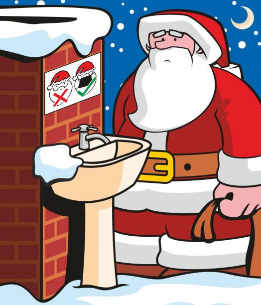 Santas Covid Rules vector art illustration