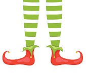 Santas Elf Feet And Legs In Red & Green Stockings