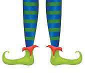 Santas Elf Feet And Legs In Red & Green Stockings