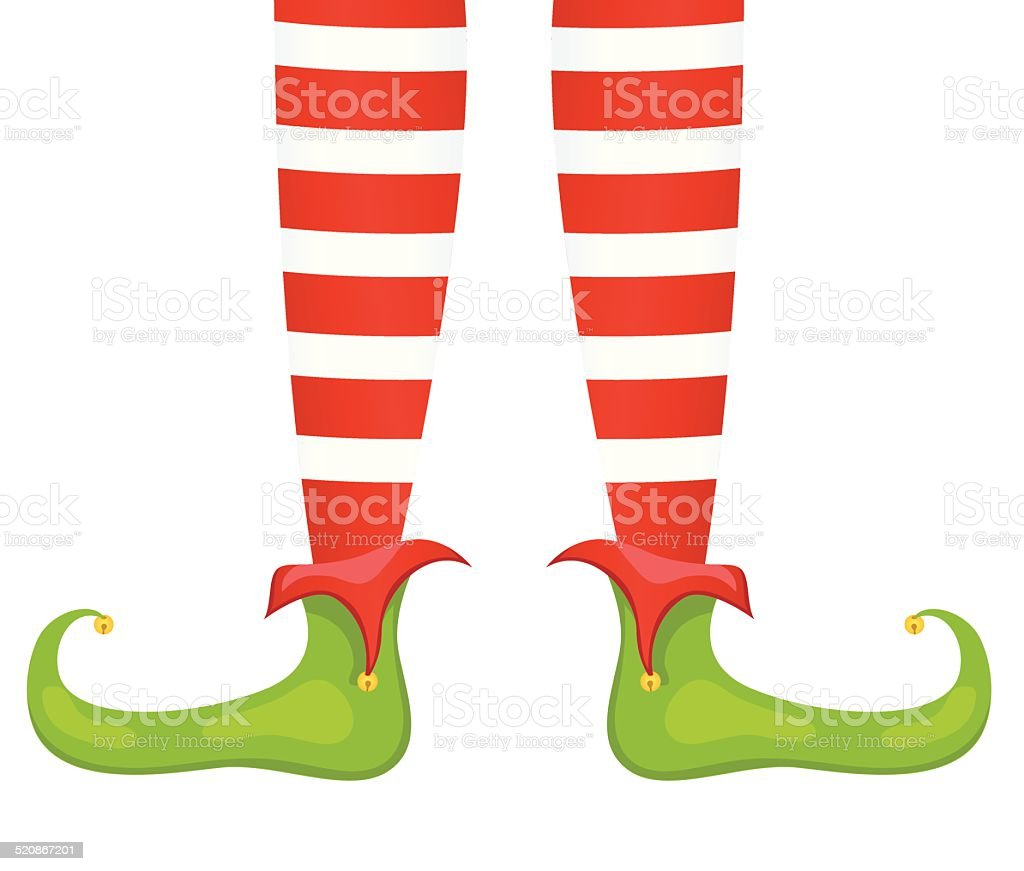 Santas Elf Feet And Legs In Red Green Royalty Free