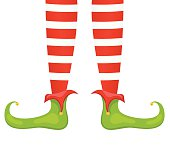 Santas Elf Feet And Legs In Red & Green