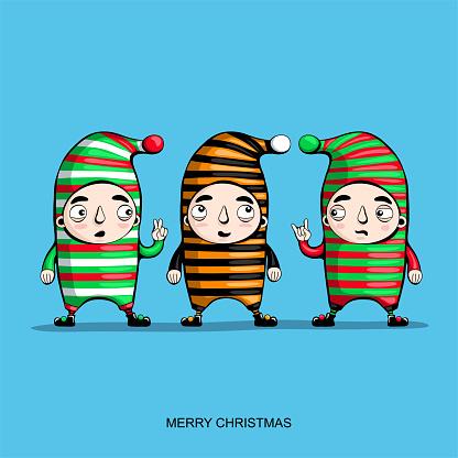 Santa's elves. Christmas greeting card. Vector illustration