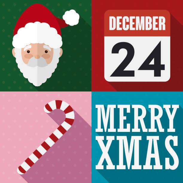 santa's face, candy cane and calendar for christmas celebration - secret santa messages stock illustrations