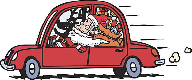 bildbanksillustrationer, clip art samt tecknat material och ikoner med santa's fast delivery - aktiva pensionärer utflykt