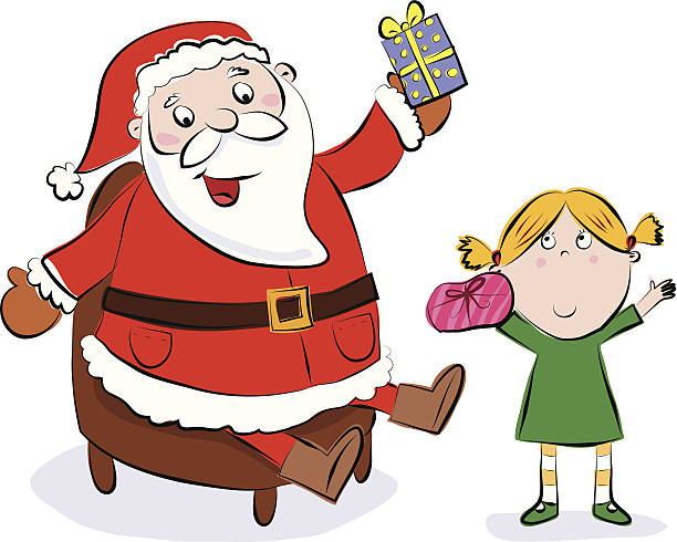 santas grotto girl getting a present from father christmas - old man sitting chair drawing stock illustrations, clip art, cartoons, & icons