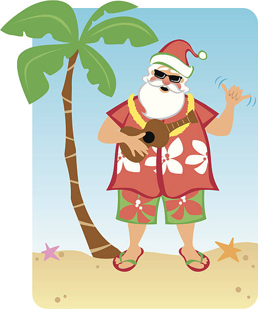 Santa's Hawaiian Christmas vector art illustration