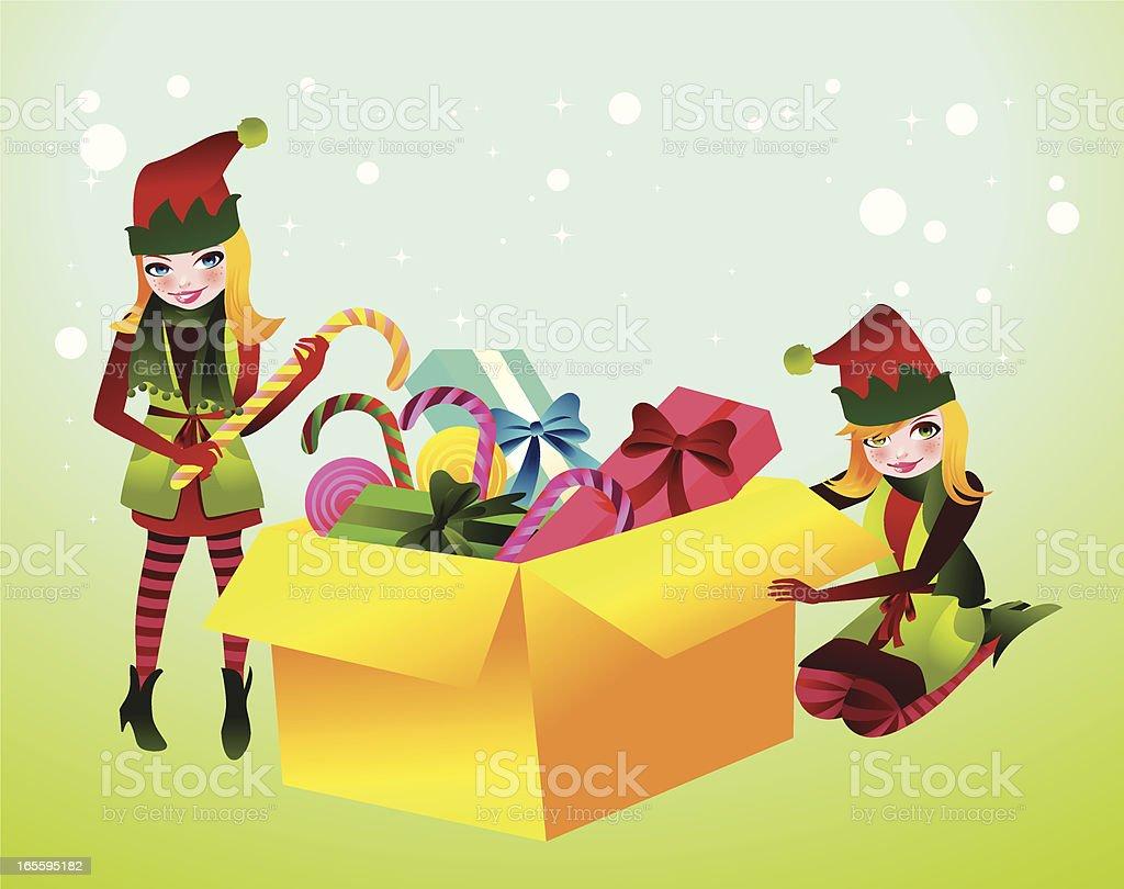 Santa's Help royalty-free santas help stock vector art & more images of box - container