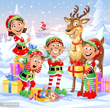 Four cheeful Christmas elves and a deer standing in a winter landscape. In the background Santa Claus is skiing. Vector illustration, fully editable and labeled in layers.