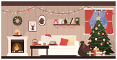 Santa Claus home interior with Christmas tree, a sack with gifts and a cat sleeping on the sofa
