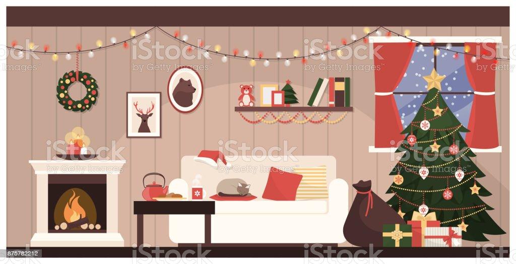 Santa's house interior vector art illustration